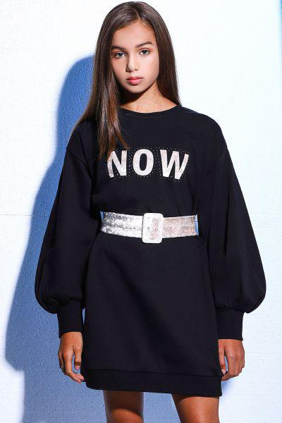 Купить Платье, Gaialuna, Черный, Хлопок-80%, Полиэстер-20%, Женский