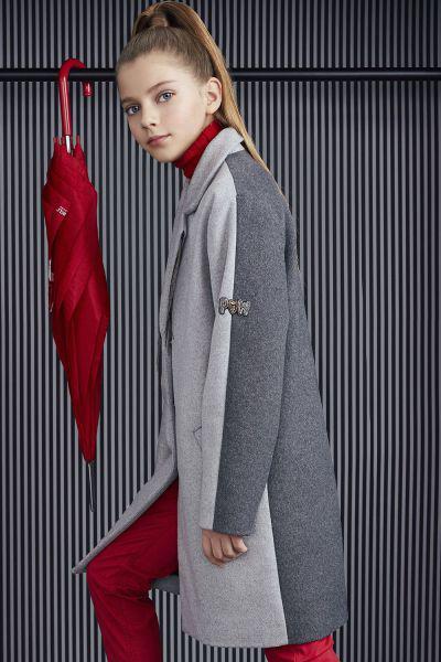 Купить Пальто, Noble People, Серый, Полиэстер-70%, Шерсть-30%, Женский