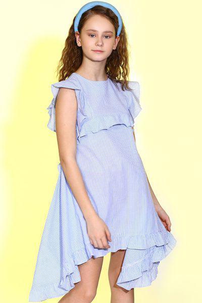 Купить Платье, Manila Grace, Голубой, Хлопок-100%, Женский
