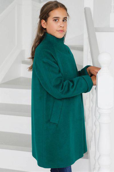 Купить Пальто, Mamma Mila, Зеленый, Шерсть-60%, Полиэстер-40%, Женский