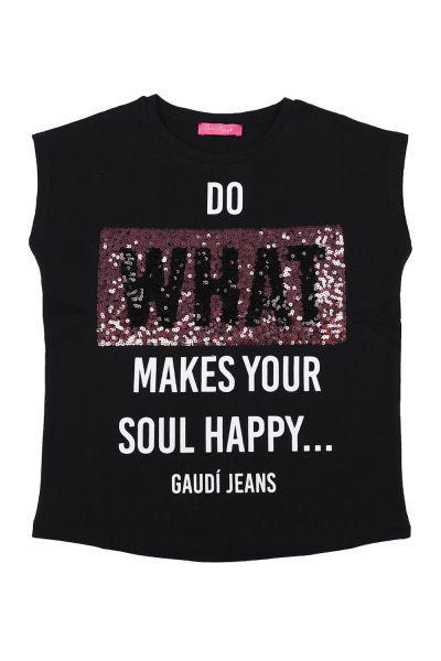 футболка gaudi для девочки, черная