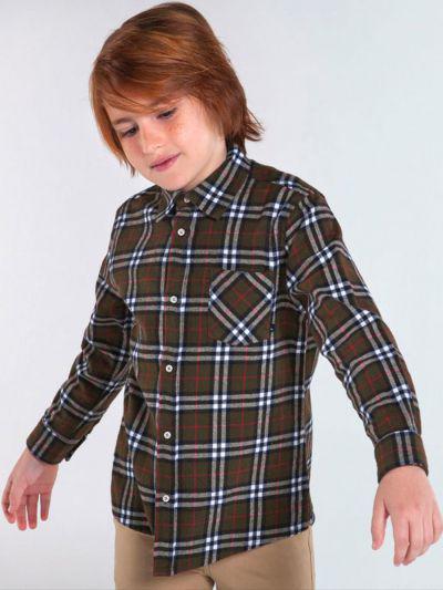 рубашка mayoral для мальчика, зеленая