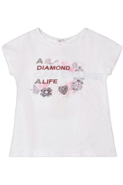 футболка silver spoon для девочки, белая