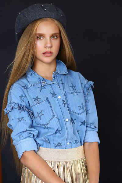 Купить Рубашка, Y-clu', Голубой, Хлопок-97%, Эластан-3%, Женский