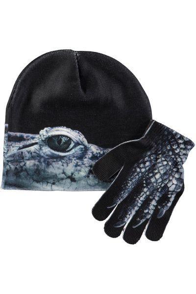 Купить Шапка+перчатки, Molo, Черный, Полиэстер-99%, Эластан-1%, Женский