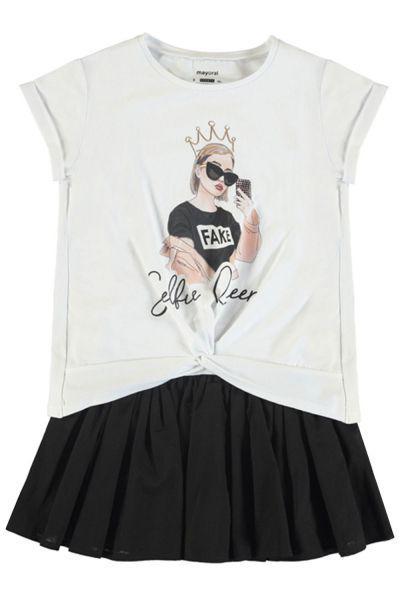 Купить Платье+футболка, Mayoral, Разноцветный, Хлопок-57%, Полиэстер-43%, Женский
