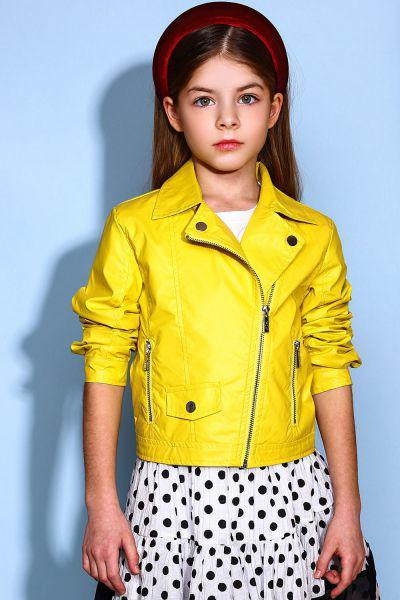 куртка косухи y-clu' для девочки, желтая